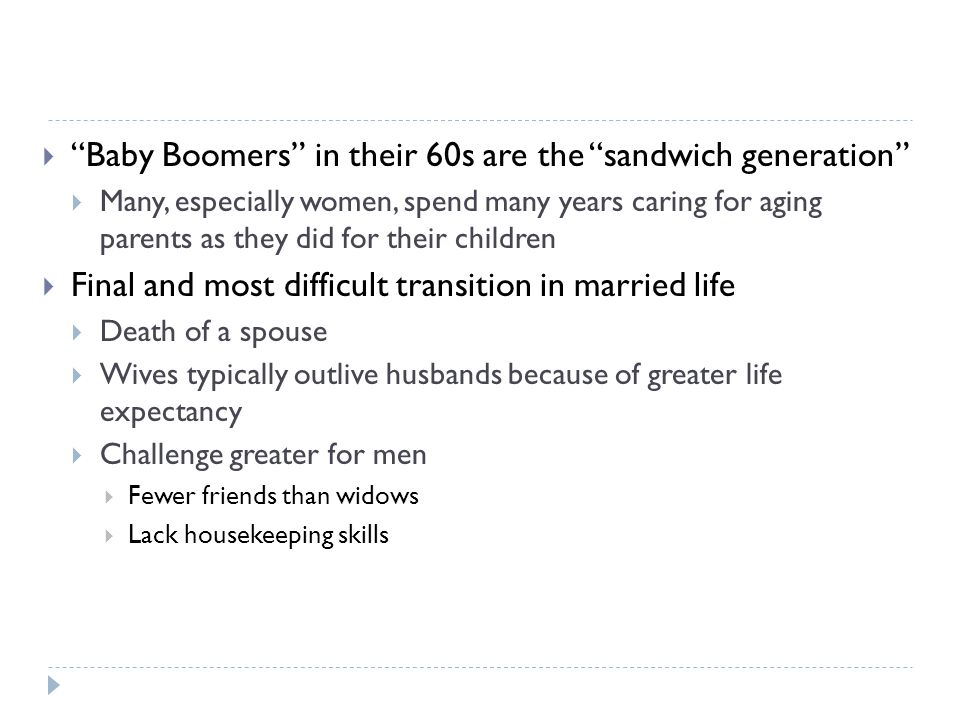 " ""Baby Boomers"" in their 60s are the ""sandwich generation""  Many, especially women, spend many years caring for aging parents as they did for their"