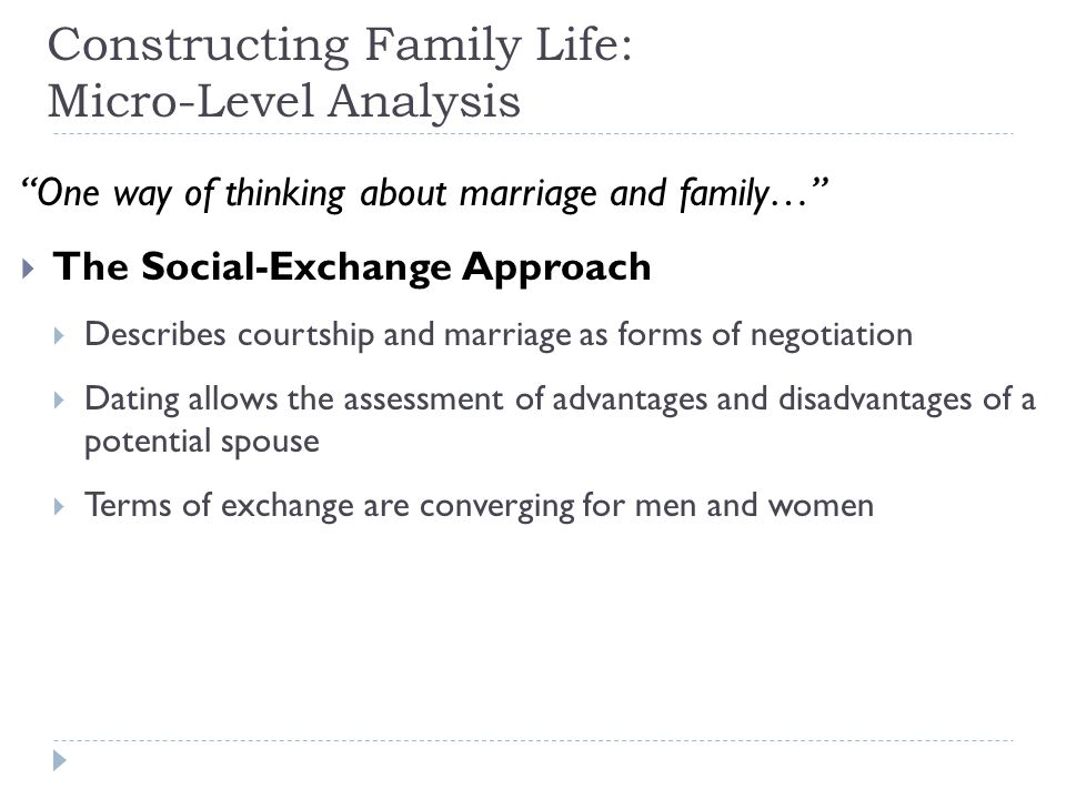"Constructing Family Life: Micro-Level Analysis ""One way of thinking about marriage and family…""  The Social-Exchange Approach  Describes courtship a"