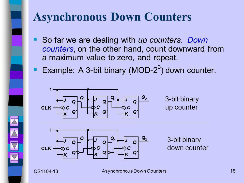 CS1104-13 Asynchronous Down Counters18 Asynchronous Down Counters  So far we are dealing with up counters. Down counters, on the other hand, count do