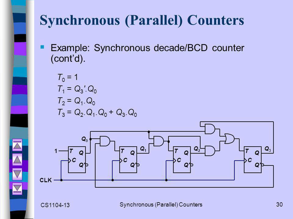 CS1104-13 Synchronous (Parallel) Counters30 Synchronous (Parallel) Counters  Example: Synchronous decade/BCD counter (cont'd).
