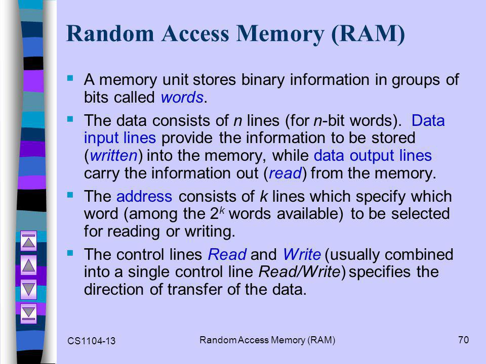 CS1104-13 Random Access Memory (RAM)70 Random Access Memory (RAM)  A memory unit stores binary information in groups of bits called words.  The data