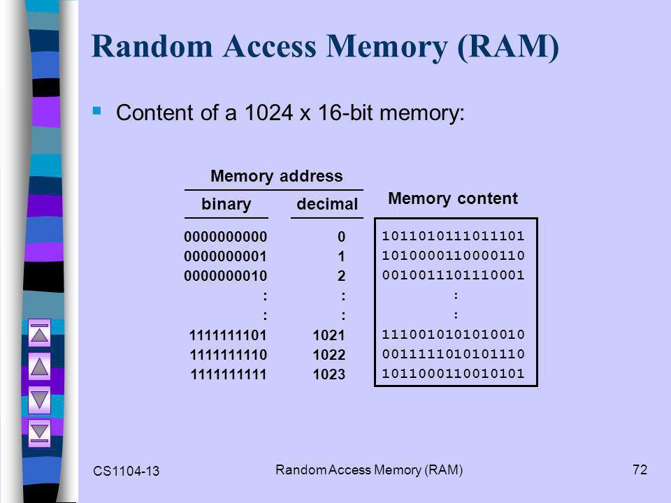 CS1104-13 Random Access Memory (RAM)72 Random Access Memory (RAM)  Content of a 1024 x 16-bit memory: 1011010111011101 1010000110000110 0010011101110001 : 1110010101010010 0011111010101110 1011000110010101 Memory content decimal 0 1 2 : 1021 1022 1023 0000000000 0000000001 0000000010 : 1111111101 1111111110 1111111111 binary Memory address