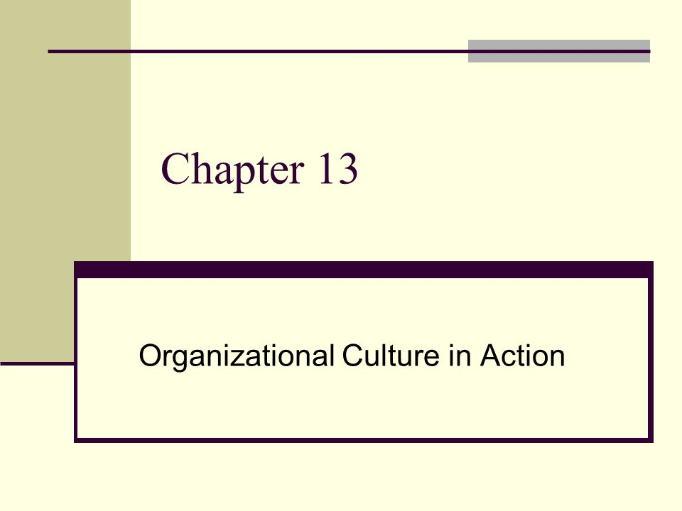 Chapter 13 Organizational Culture in Action