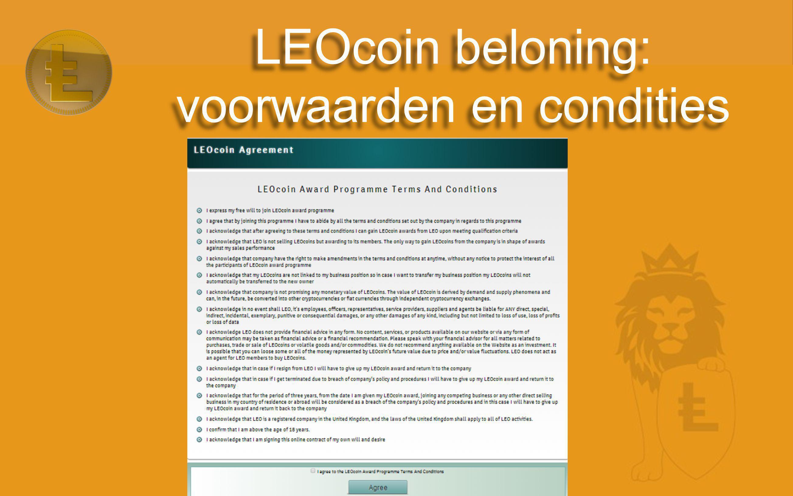 LEOcoin beloning: voorwaarden en condities
