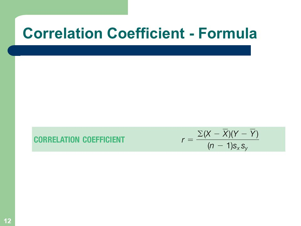 12 Correlation Coefficient - Formula
