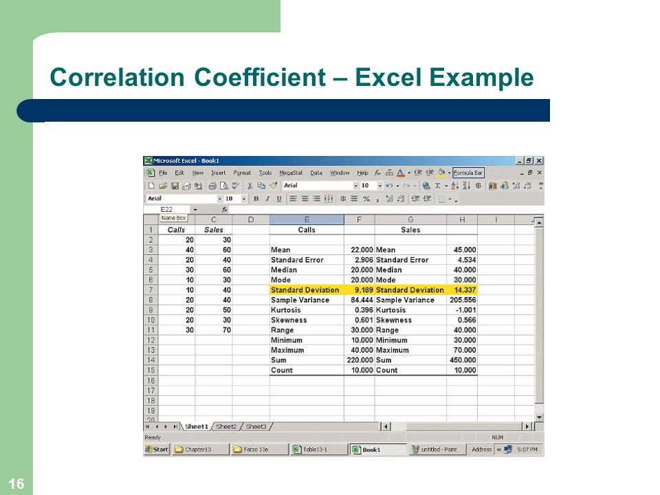 16 Correlation Coefficient – Excel Example