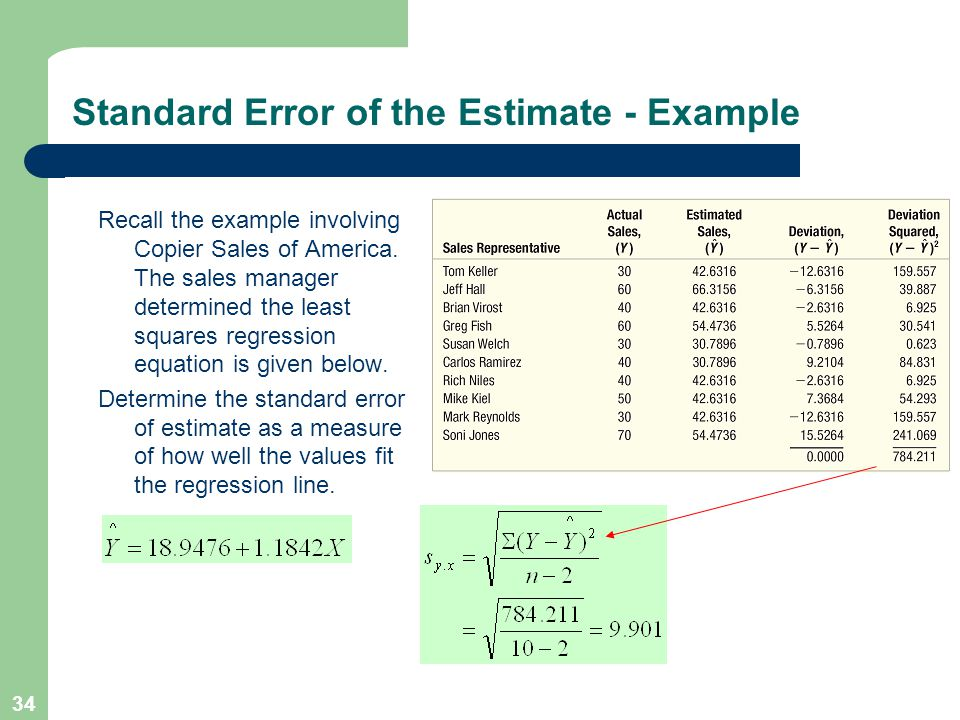 34 Standard Error of the Estimate - Example Recall the example involving Copier Sales of America.