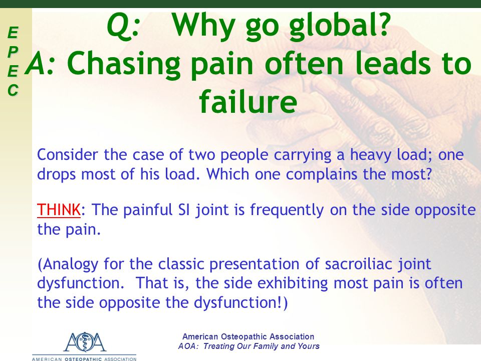 EPECEPECEPECEPEC American Osteopathic Association AOA: Treating Our Family and Yours Q: Why go global? A: Chasing pain often leads to failure Consider