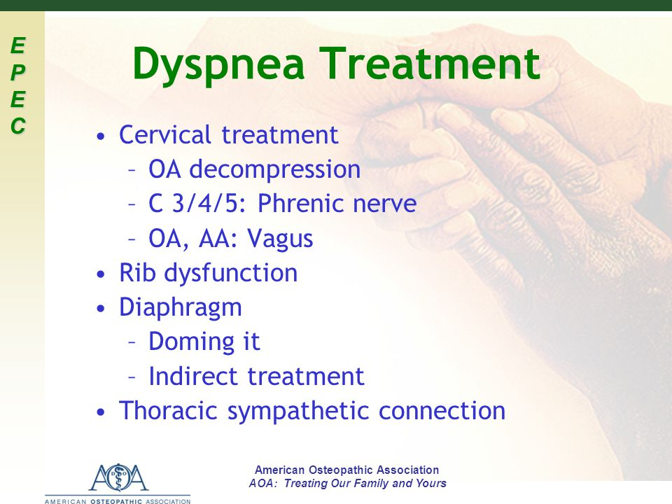 EPECEPECEPECEPEC American Osteopathic Association AOA: Treating Our Family and Yours Dyspnea Treatment Cervical treatment –OA decompression –C 3/4/5: