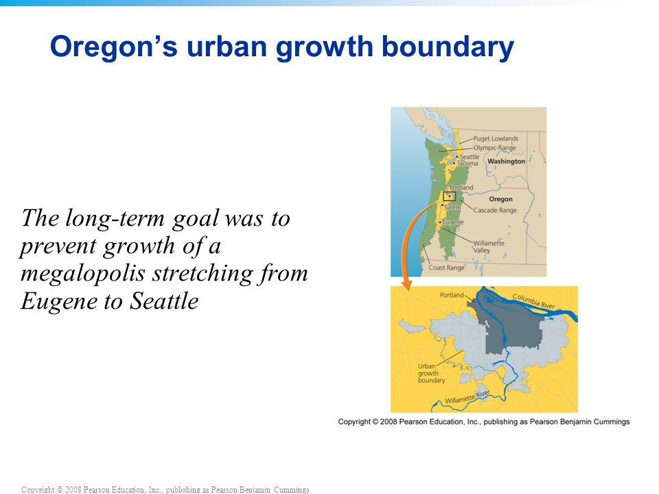 Copyright © 2008 Pearson Education, Inc., publishing as Pearson Benjamin Cummings Oregon's urban growth boundary The long-term goal was to prevent growth of a megalopolis stretching from Eugene to Seattle