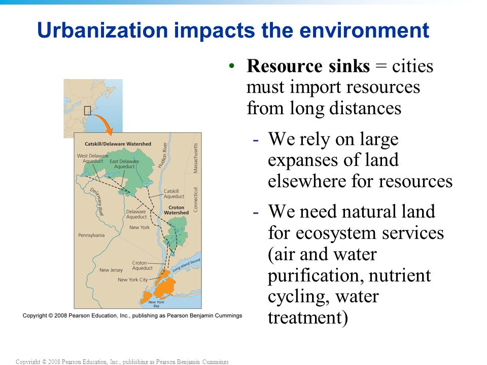 Copyright © 2008 Pearson Education, Inc., publishing as Pearson Benjamin Cummings Urbanization impacts the environment Resource sinks = cities must import resources from long distances -We rely on large expanses of land elsewhere for resources -We need natural land for ecosystem services (air and water purification, nutrient cycling, water treatment)