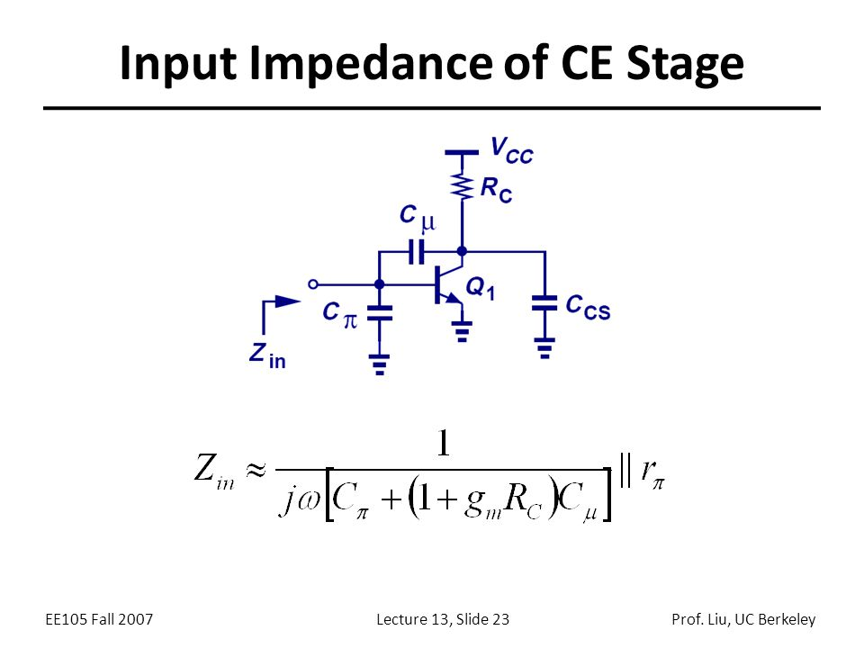 EE105 Fall 2007Lecture 13, Slide 23Prof. Liu, UC Berkeley Input Impedance of CE Stage