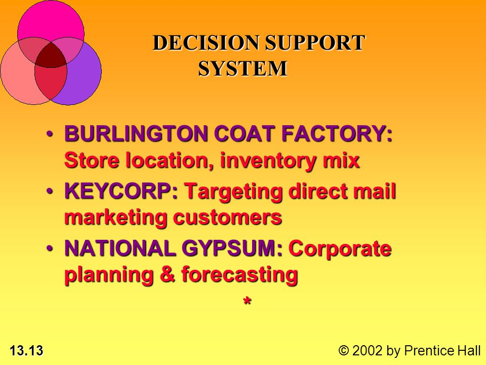 13.13 © 2002 by Prentice Hall BURLINGTON COAT FACTORY: Store location, inventory mixBURLINGTON COAT FACTORY: Store location, inventory mix KEYCORP: Targeting direct mail marketing customersKEYCORP: Targeting direct mail marketing customers NATIONAL GYPSUM: Corporate planning & forecastingNATIONAL GYPSUM: Corporate planning & forecasting* DECISION SUPPORT SYSTEM DECISION SUPPORT SYSTEM