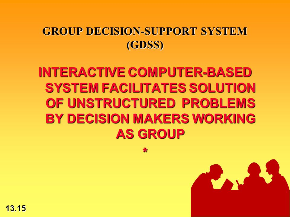 13.15 © 2002 by Prentice Hall GROUP DECISION-SUPPORT SYSTEM (GDSS) INTERACTIVE COMPUTER-BASED SYSTEM FACILITATES SOLUTION OF UNSTRUCTURED PROBLEMS BY