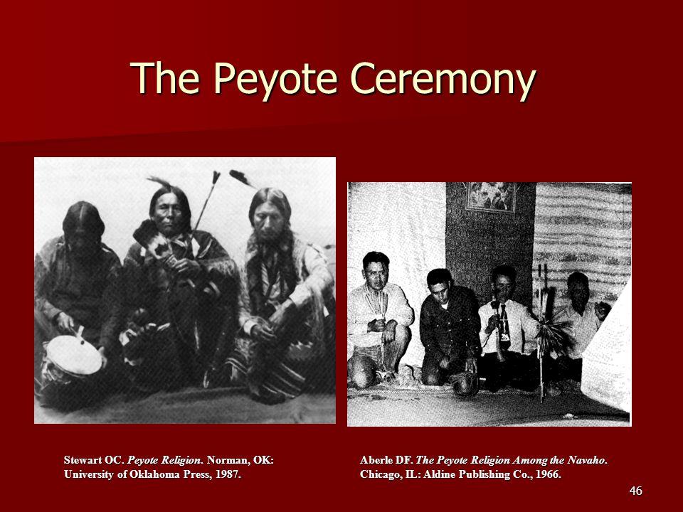 46 The Peyote Ceremony Stewart OC. Peyote Religion. Norman, OK: University of Oklahoma Press, 1987. Aberle DF. The Peyote Religion Among the Navaho. C