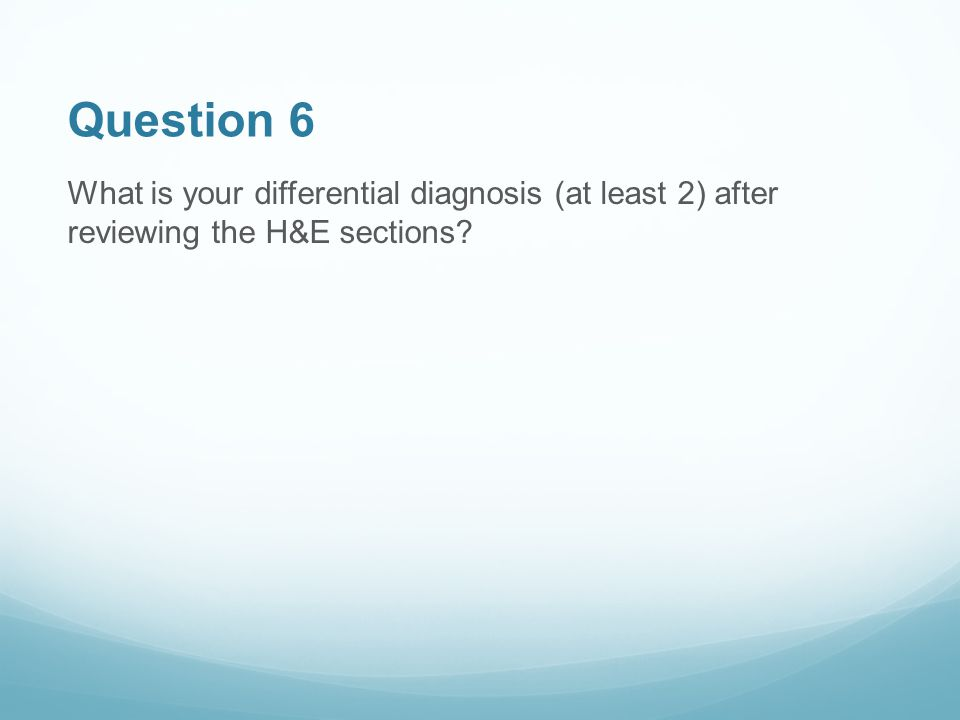 Question 6 What is your differential diagnosis (at least 2) after reviewing the H&E sections?