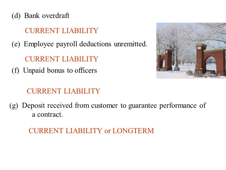 (d) Bank overdraft CURRENT LIABILITY (e) Employee payroll deductions unremitted. CURRENT LIABILITY (f) Unpaid bonus to officers CURRENT LIABILITY (g)