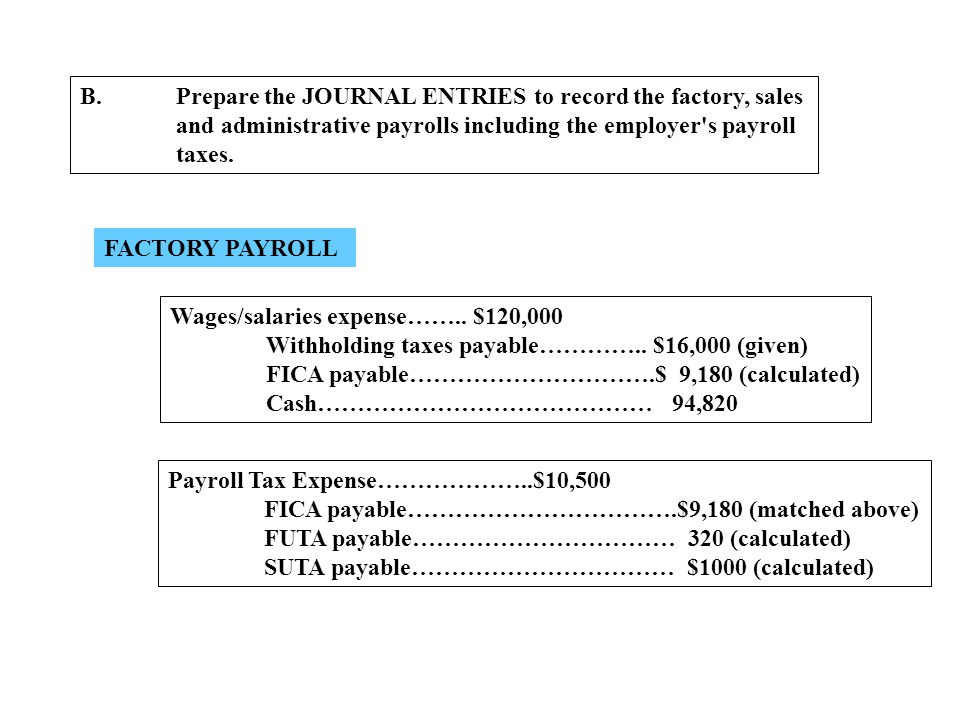 B.Prepare the JOURNAL ENTRIES to record the factory, sales and administrative payrolls including the employer's payroll taxes. FACTORY PAYROLL Wages/s