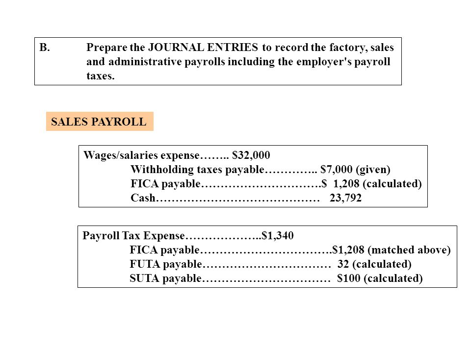 B.Prepare the JOURNAL ENTRIES to record the factory, sales and administrative payrolls including the employer's payroll taxes. SALES PAYROLL Wages/sal