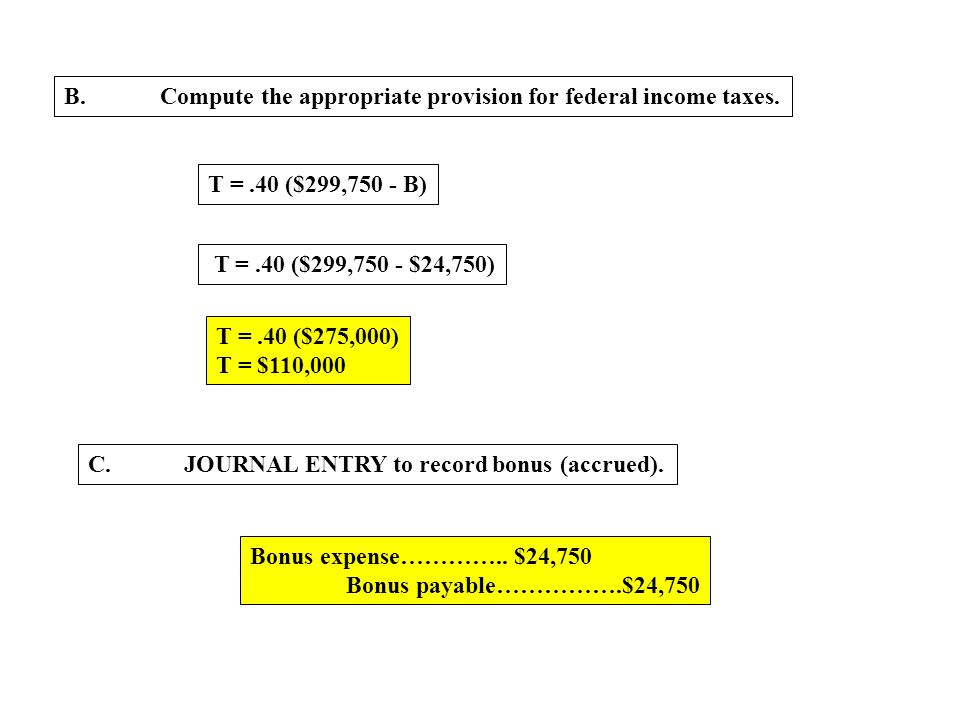 B.Compute the appropriate provision for federal income taxes. T =.40 ($299,750 - B) T =.40 ($299,750 - $24,750) T =.40 ($275,000) T = $110,000 C.JOURN