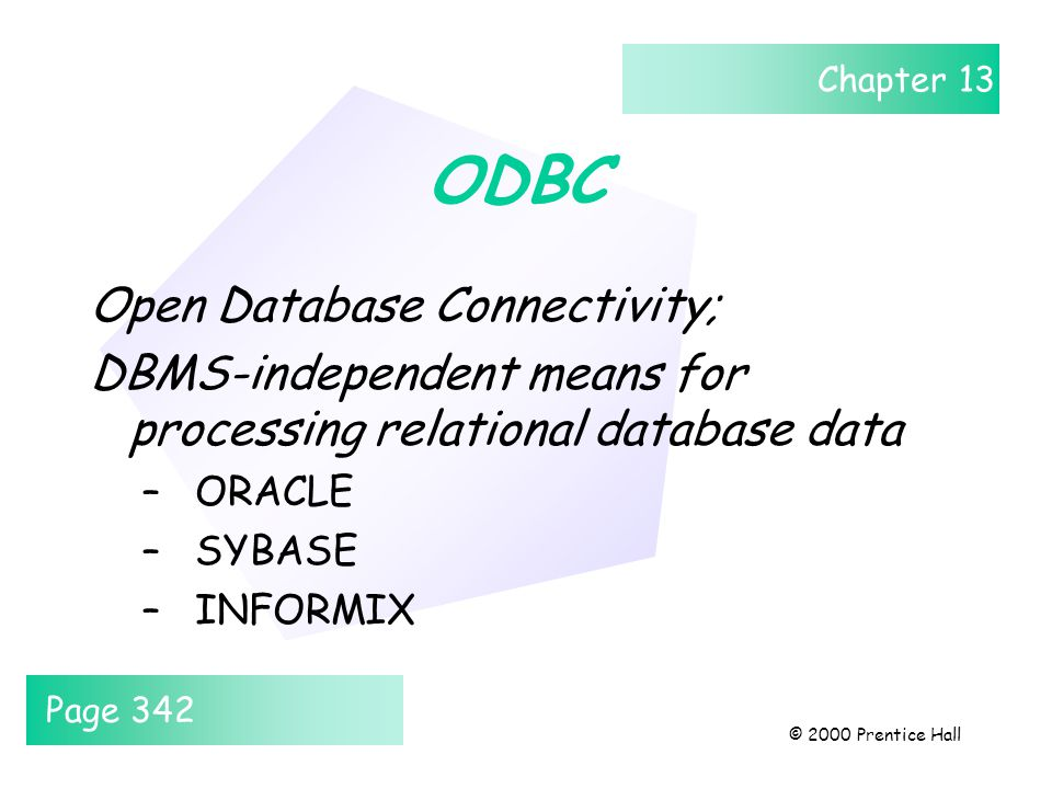 Chapter 13 © 2000 Prentice Hall ODBC Open Database Connectivity; DBMS-independent means for processing relational database data –ORACLE –SYBASE –INFOR
