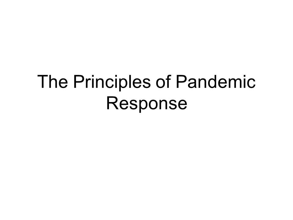 The Principles of Pandemic Response
