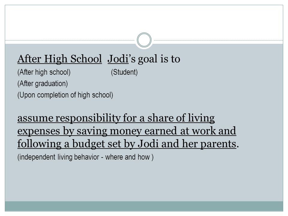 After High School Jodi's goal is to (After high school) (Student) (After graduation) (Upon completion of high school) assume responsibility for a shar