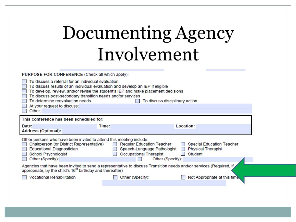 Documenting Agency Involvement