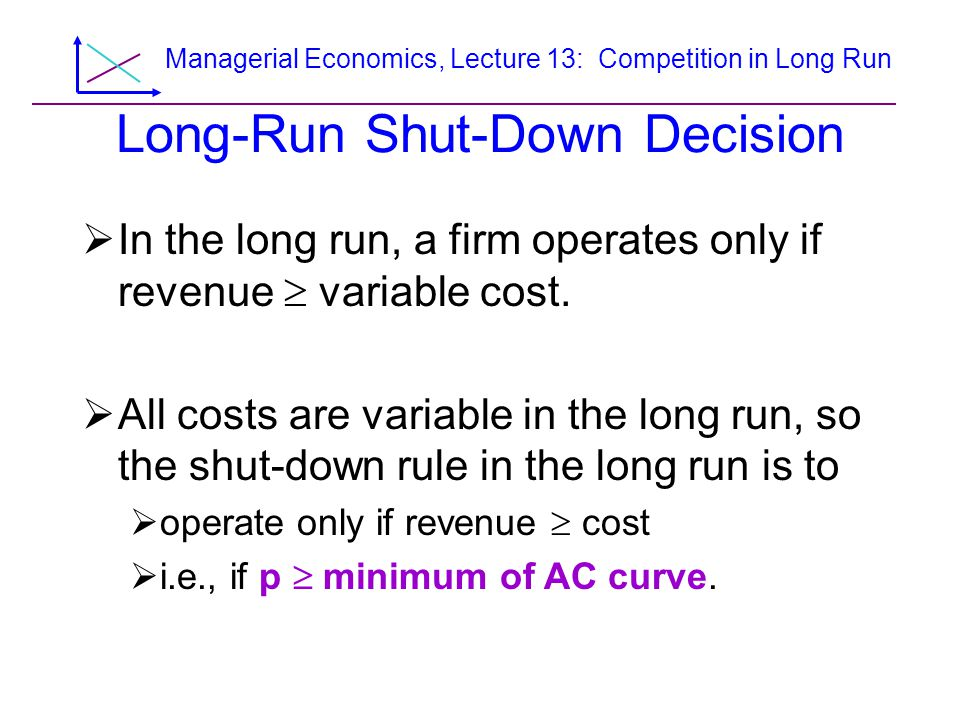 Managerial Economics, Lecture 13: Competition in Long Run Figure 8.14 Long-Run Market Supply in an Decreasing- Input-Cost Market p, $ per unit q 1 q 2 Q 1 =n 1 q 1 Q 2 =n 2 q 2 q, Units per yearQ p 1 p 2 e 2 e 1 E 2 S E 1 p, $ per unit (a) Firm (b) Market AC 2 MC 2 1 AC 1
