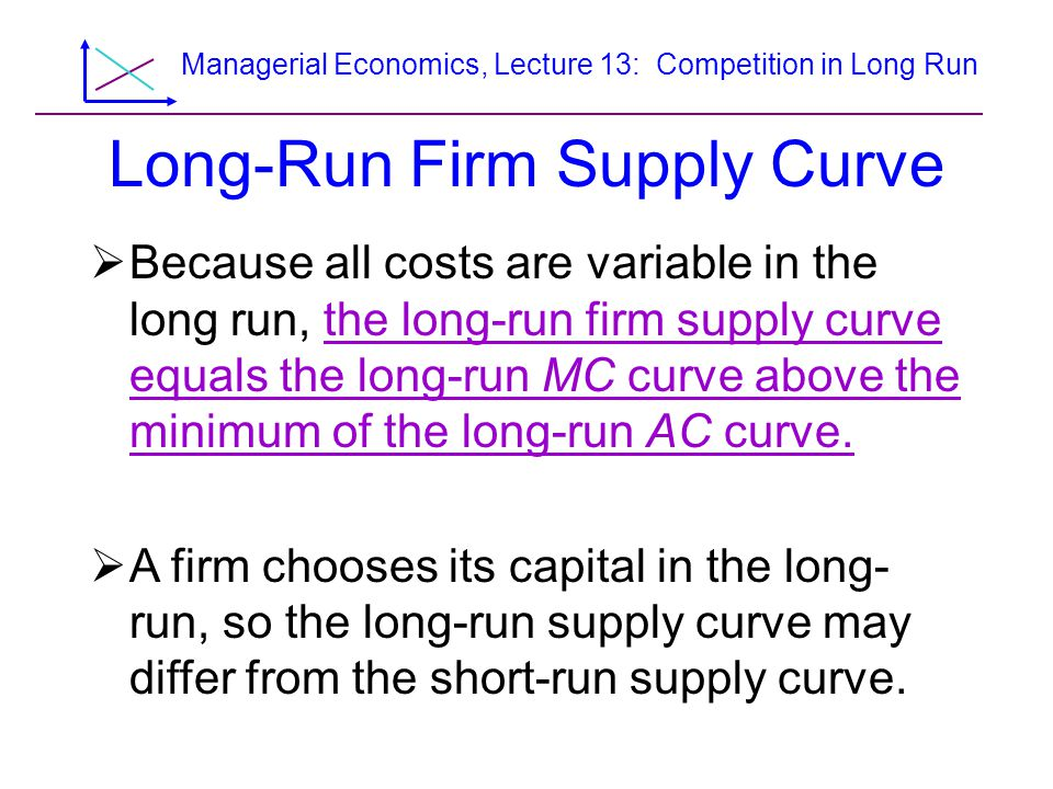 Managerial Economics, Lecture 13: Competition in Long Run Figure 8.11 The Short-Run and Long-Run Supply Curves p, $ per unit 50110q, Units per year 25 24 28 35 20 0 p SRAC LRMC LRAC SRMC SRAVC B A S SR S LR