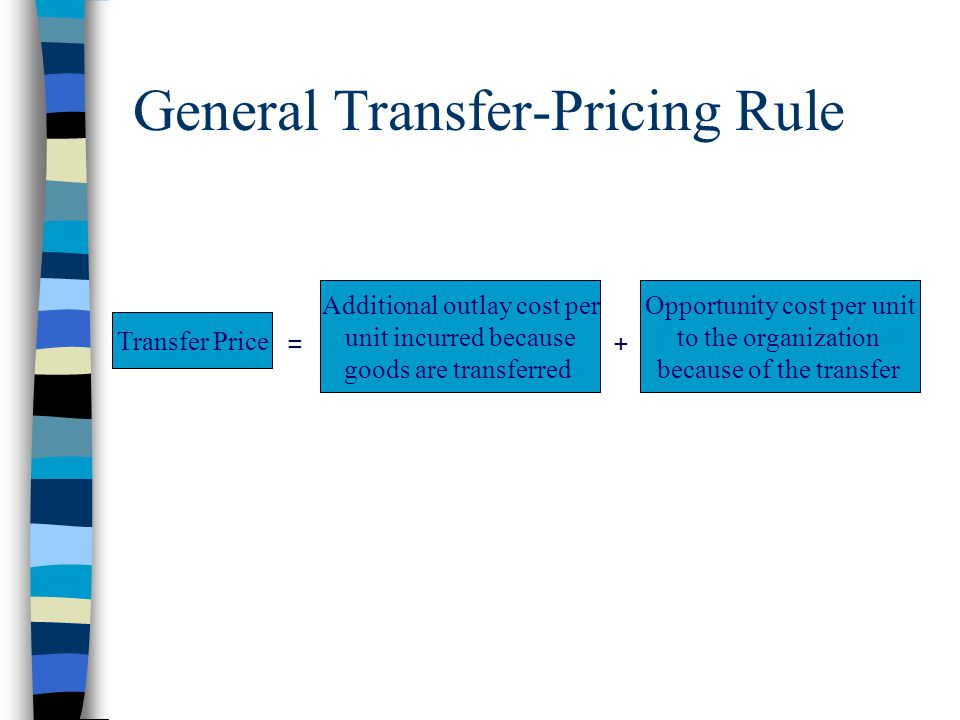 General Transfer-Pricing Rule = + Transfer Price Additional outlay cost per unit incurred because goods are transferred Opportunity cost per unit to t