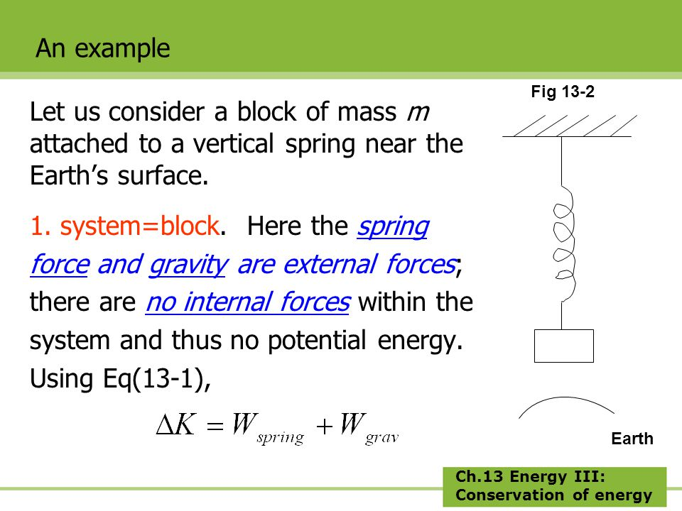 Ch.13 Energy III: Conservation of energy Let us consider a block of mass m attached to a vertical spring near the Earth's surface.