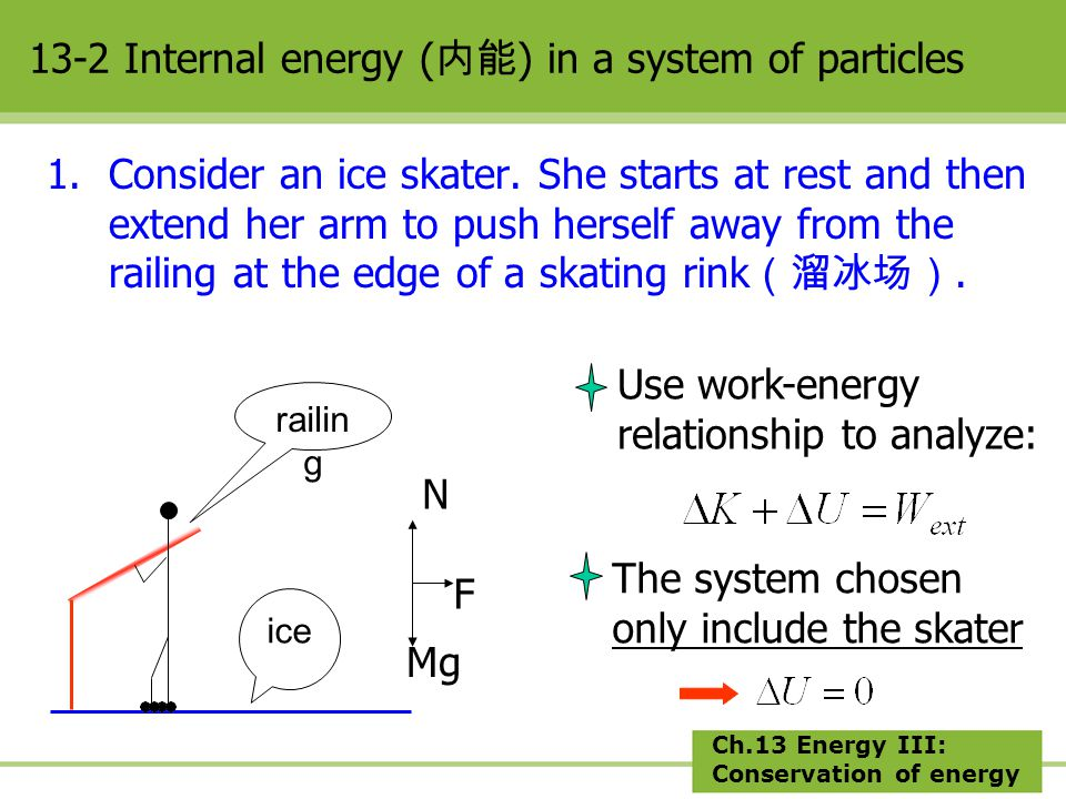 Ch.13 Energy III: Conservation of energy W F =0; W N+MG =0; W ext =0 ??.