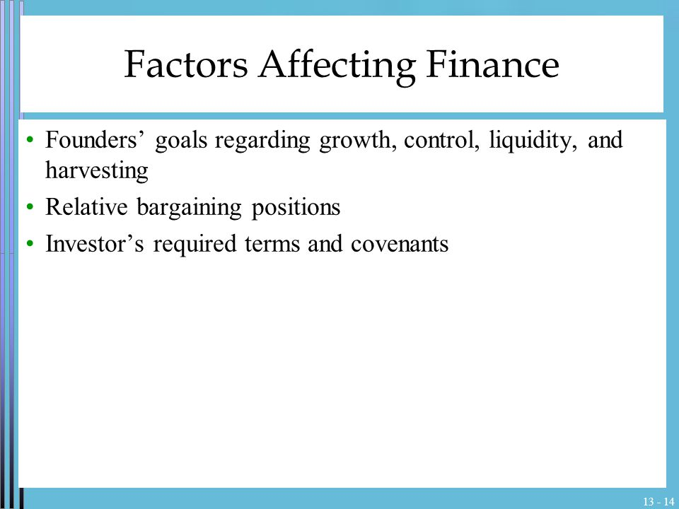 13 - 14 Factors Affecting Finance Founders' goals regarding growth, control, liquidity, and harvesting Relative bargaining positions Investor's requir