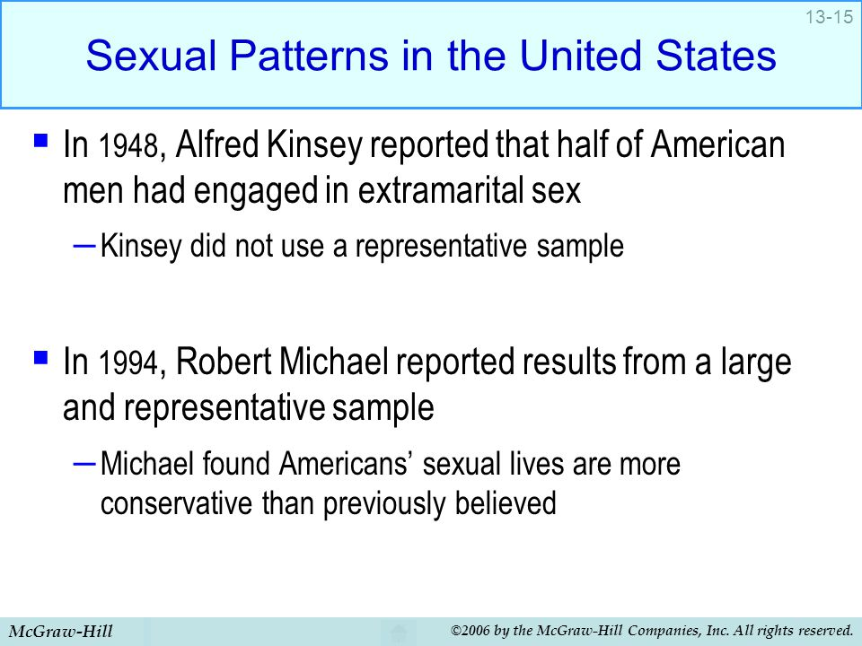 McGraw-Hill ©2006 by the McGraw-Hill Companies, Inc. All rights reserved. 13-15 Sexual Patterns in the United States  In 1948, Alfred Kinsey reported