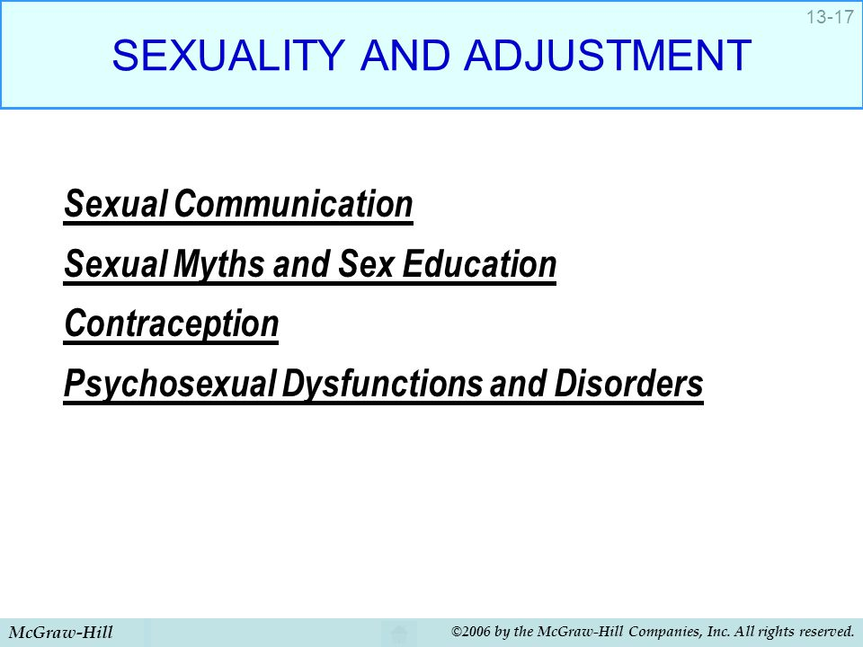 McGraw-Hill ©2006 by the McGraw-Hill Companies, Inc. All rights reserved. 13-17 SEXUALITY AND ADJUSTMENT Sexual Communication Sexual Myths and Sex Edu