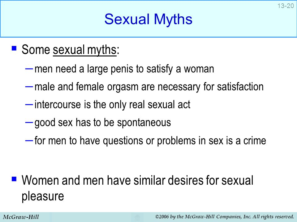 McGraw-Hill ©2006 by the McGraw-Hill Companies, Inc. All rights reserved. 13-20 Sexual Myths  Some sexual myths: – men need a large penis to satisfy