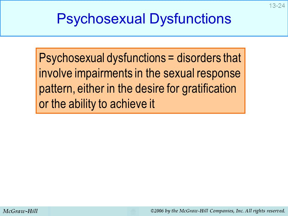 McGraw-Hill ©2006 by the McGraw-Hill Companies, Inc. All rights reserved. 13-24 Psychosexual Dysfunctions Psychosexual dysfunctions = disorders that i
