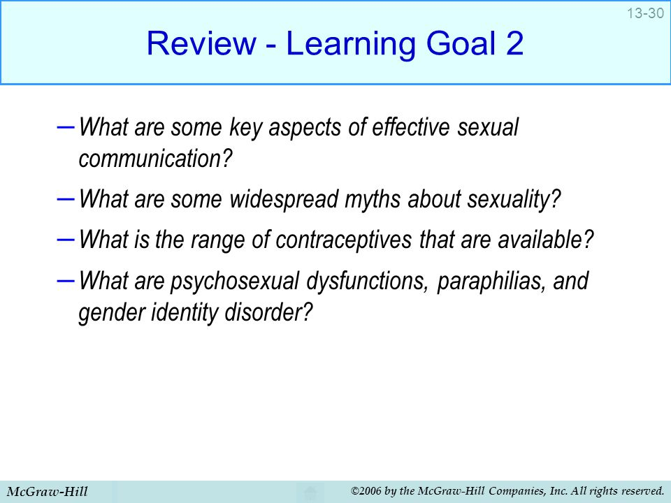 McGraw-Hill ©2006 by the McGraw-Hill Companies, Inc. All rights reserved. 13-30 Review - Learning Goal 2 – What are some key aspects of effective sexu