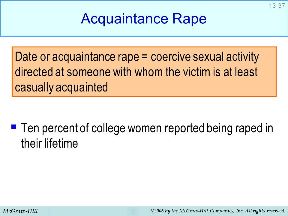 McGraw-Hill ©2006 by the McGraw-Hill Companies, Inc. All rights reserved. 13-37 Acquaintance Rape  Ten percent of college women reported being raped
