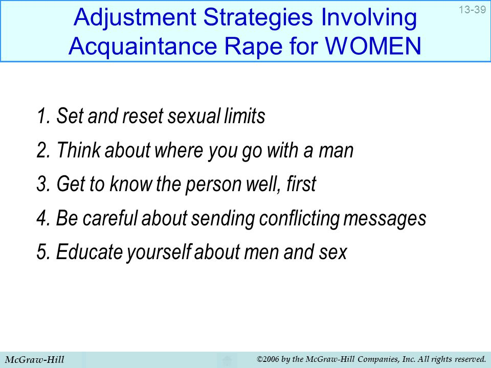 McGraw-Hill ©2006 by the McGraw-Hill Companies, Inc. All rights reserved. 13-39 Adjustment Strategies Involving Acquaintance Rape for WOMEN 1. Set and