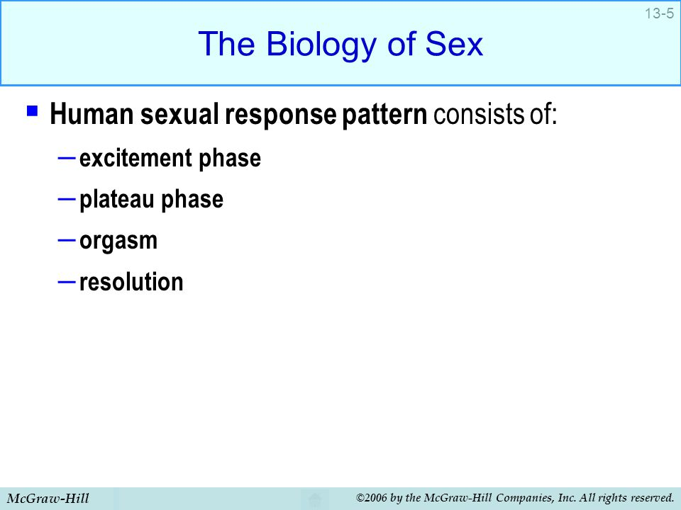McGraw-Hill ©2006 by the McGraw-Hill Companies, Inc. All rights reserved. 13-5 The Biology of Sex  Human sexual response pattern consists of: – excit