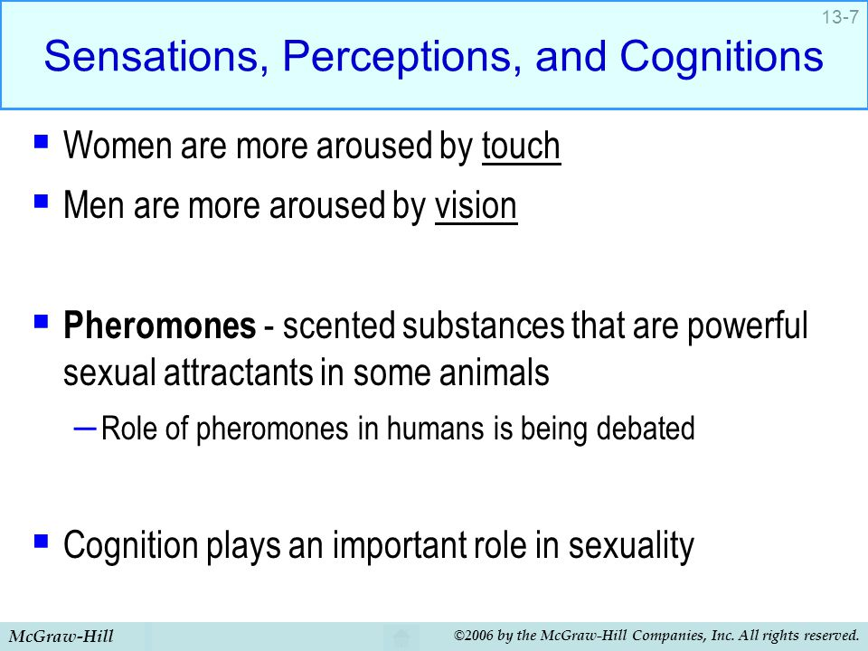 McGraw-Hill ©2006 by the McGraw-Hill Companies, Inc. All rights reserved. 13-7 Sensations, Perceptions, and Cognitions  Women are more aroused by tou