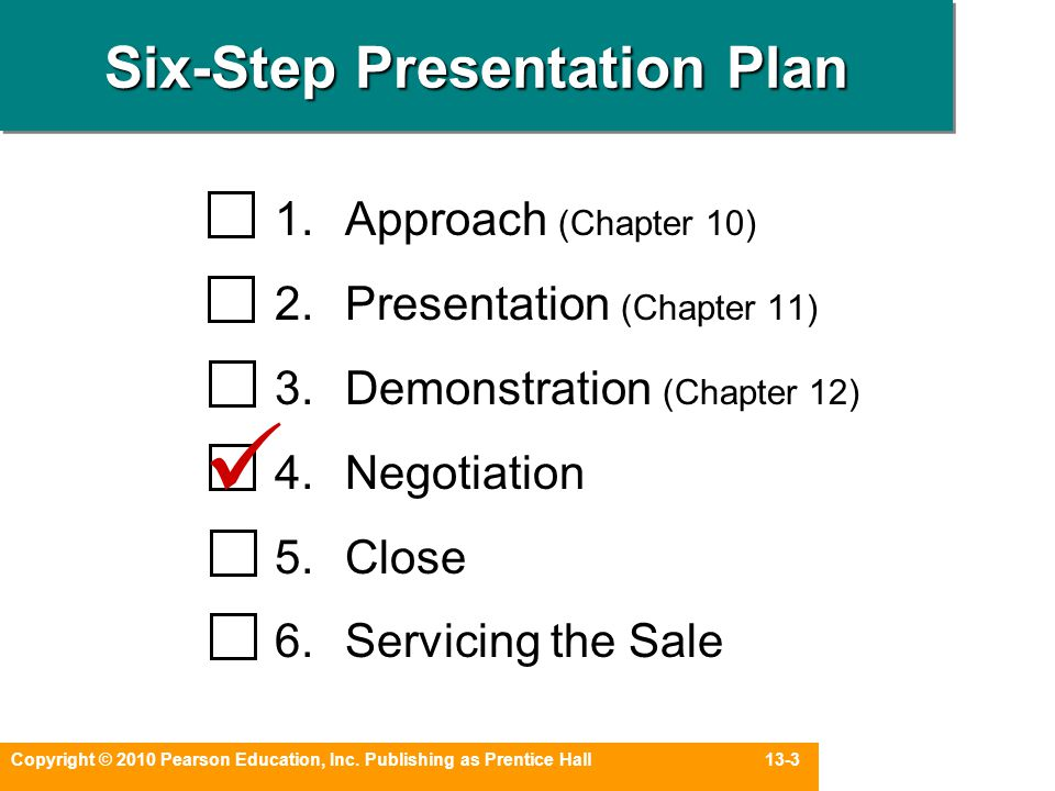 Copyright © 2010 Pearson Education, Inc. Publishing as Prentice Hall 13-3 Six-Step Presentation Plan 1.Approach (Chapter 10) 2.Presentation (Chapter 1