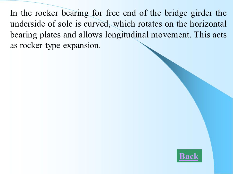 In the rocker bearing for free end of the bridge girder the underside of sole is curved, which rotates on the horizontal bearing plates and allows lon