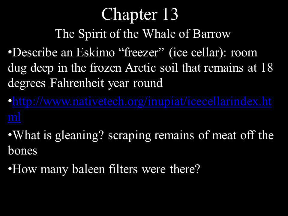 """Chapter 13 The Spirit of the Whale of Barrow Describe an Eskimo """"freezer"""" (ice cellar): room dug deep in the frozen Arctic soil that remains at 18 deg"""
