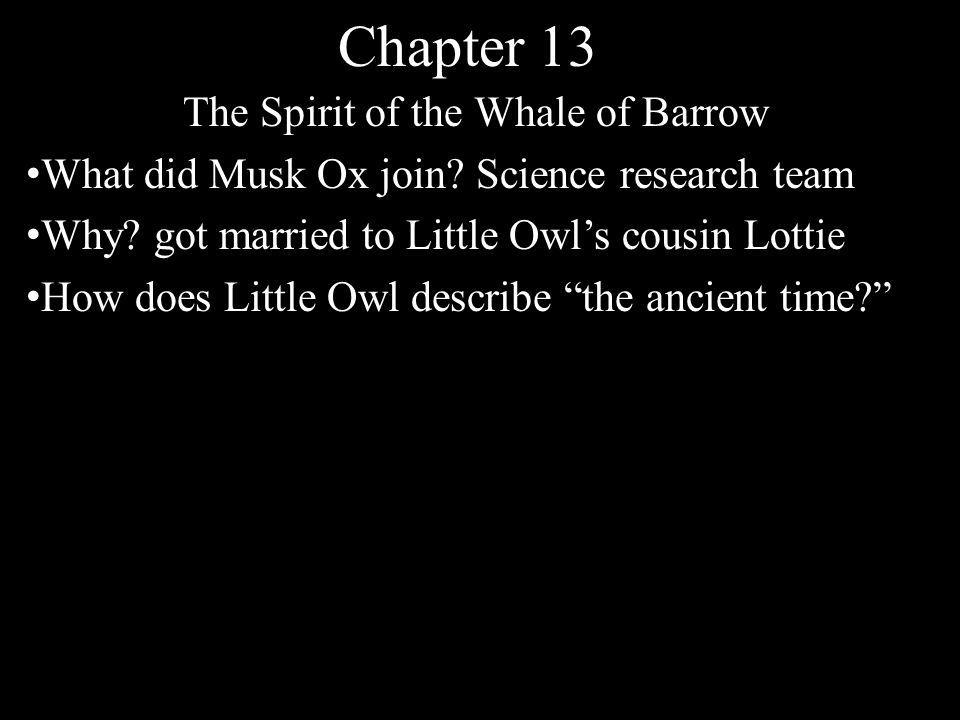 Chapter 13 The Spirit of the Whale of Barrow What did Musk Ox join.