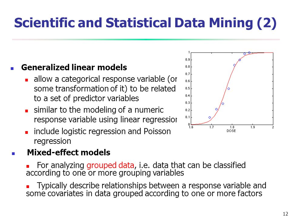 12 Scientific and Statistical Data Mining (2) Generalized linear models allow a categorical response variable (or some transformation of it) to be rel