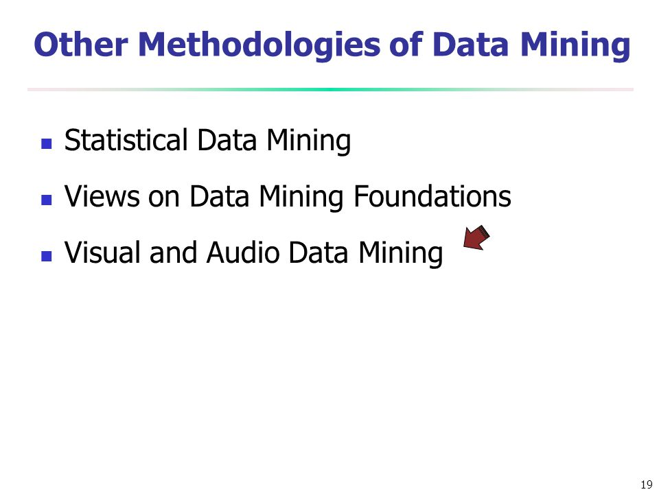 19 Other Methodologies of Data Mining Statistical Data Mining Views on Data Mining Foundations Visual and Audio Data Mining