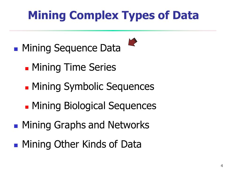 4 Mining Complex Types of Data Mining Sequence Data Mining Time Series Mining Symbolic Sequences Mining Biological Sequences Mining Graphs and Network